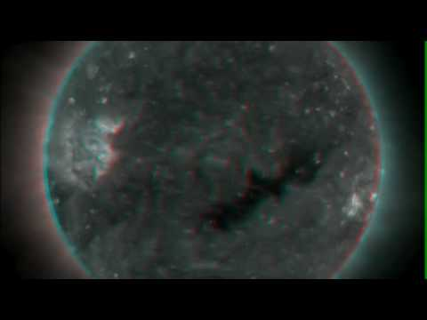 The Sun's Coronal Hole in 3D (3D glasses req.)
