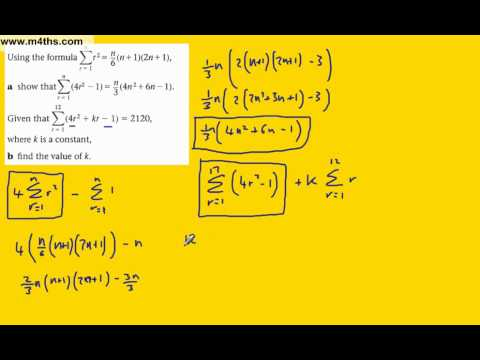 (d) Summing finite series (FP1 Edexcel) example 4 - past exam question (further maths)