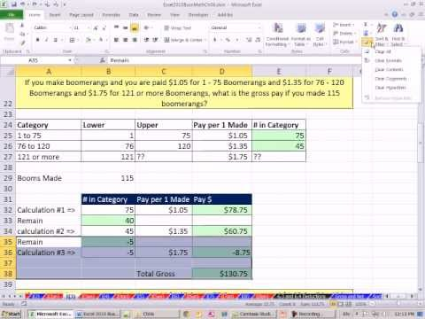 Excel 2010 Business Math 48: Incentive Pay: Variable Piece Work Rates