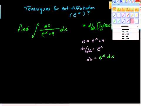 Techniques for Antidifferentiation (e^x) and ln(f(x))
