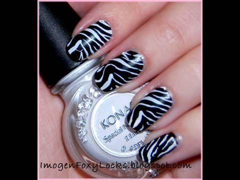 Konad Zebra Nail Design in 5 minutes!