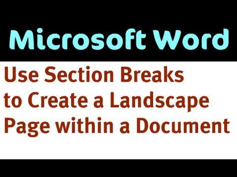 Create a Landscape Page Within a Portrait Word Document