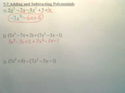 7.7 Adding and Subtracting - Algebra 1