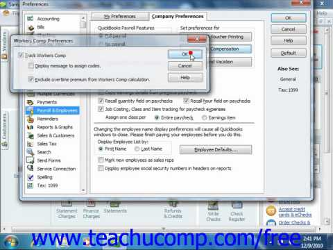 QuickBooks 2011-2005 Tutorial Tracking Workers Compensation Intuit Training Lesson 20.13