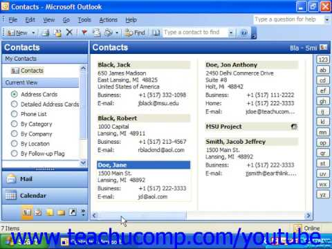 Outlook 2003 Tutorial The Contacts Folder Microsoft Training Lesson 2.3
