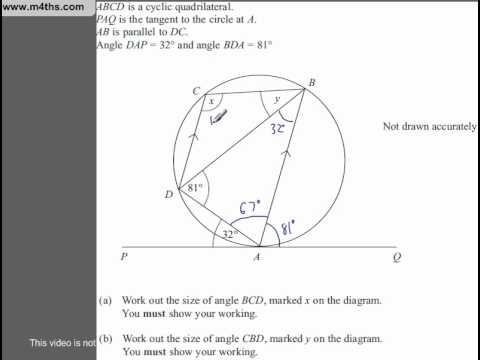 (Q105) A Star GCSE Revision Questions Circle theorem