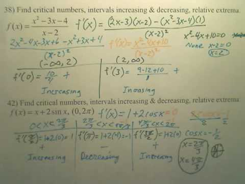 3.3 Increasing and Decreasing Practice p2b - Calculus