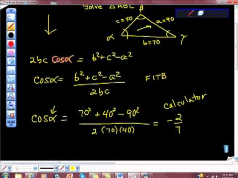 Law of Cosine SSS Example Geometry Trigonometry
