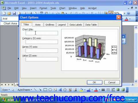 Excel 2003 Tutorial Changing Chart Titles Microsoft Training Lesson 22.3