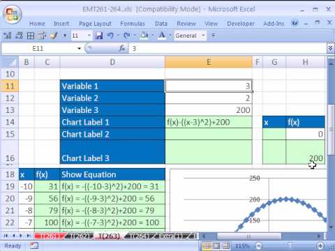 Excel Magic Trick # 263: Math Function of X & Dynamic Charts