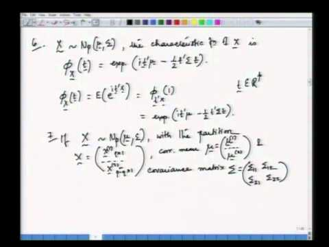Mod-01 Lec-03 Multivariate normal distribution - I