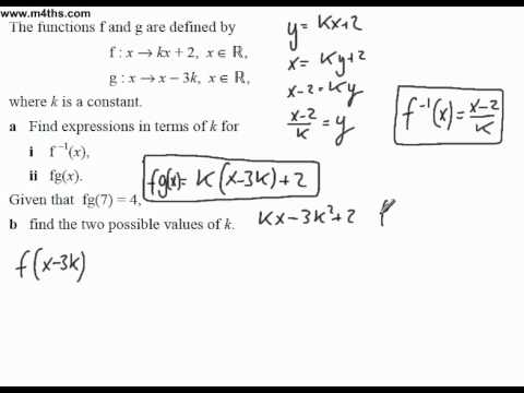 (6) Functions Past Exam Questions Core 3 (solving composite functions)