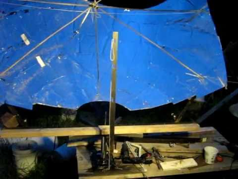 "Cone solar reflector demo with the ""3 point Linkage"""