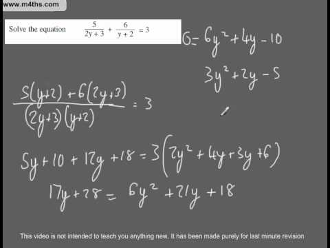 (Q117) A Star GCSE Revision Questions Hard Quadratic equation