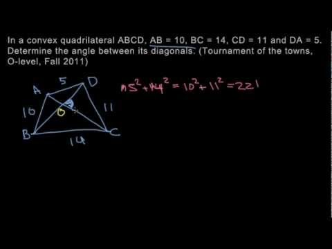 Geometry 3 - Angle Between Diagonals - Pythagorean Theorem