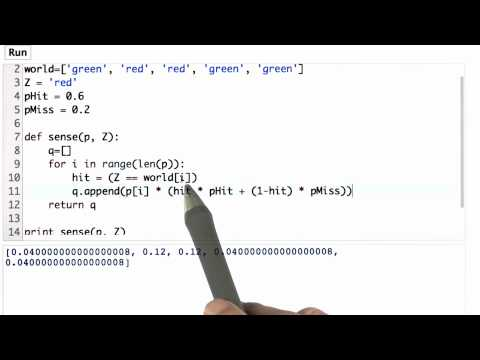 Sense Function Solution - CS373 Unit 1 - Udacity