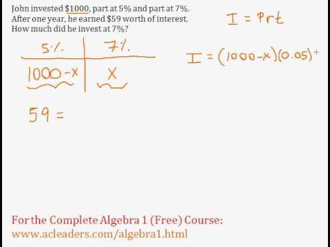 (Algebra 1) Word Problems - Interest Question #1