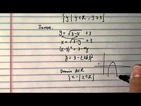 Domain, Range of f(x) and f^-1(x): Five Illustrating Examples ( Part 3a)