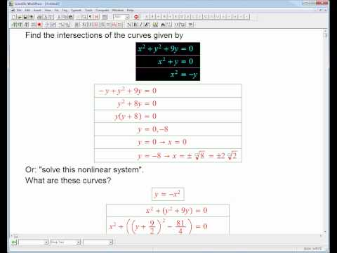nonlinear system: circle and parabola