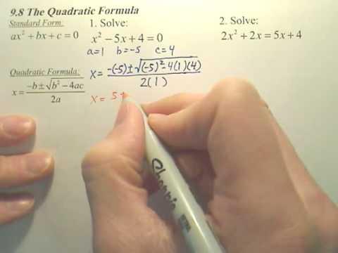 9.8a Quadratic Formula - Algebra 1