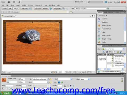 Dreamweaver CS5 Tutorial Cropping Images Adobe Training Lesson 4.9