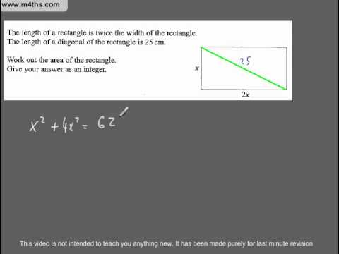 (Q260) A Star GCSE Revision Questions Quadratic and pythagoras