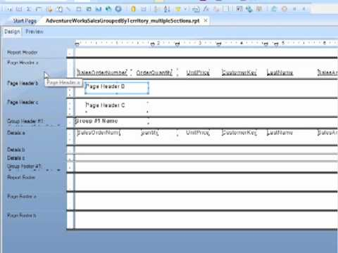 Crystal Reports 2008 Deleting and Merging Sections - Tutorial