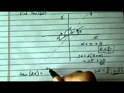 Double Angle Formula: If tanx= 3/4 and angle x is in quadrant 3 find tan 2x?