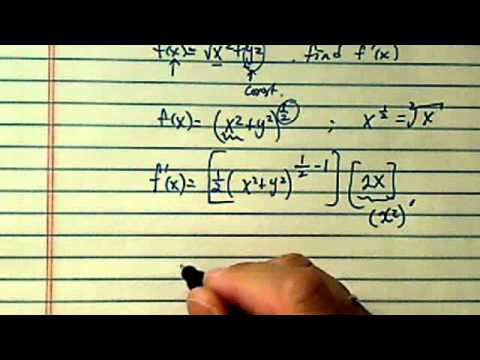 how to find the Derivative using chain rule (sqrt [ (x^2) + (y^2) ])?