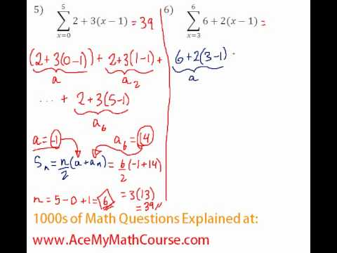 Arithmetic Series - Sigma Notation #5-6