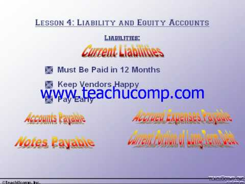 Accounting Tutorial Liabilities Training Lesson 4.1