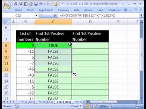 YTLE#104: Find 1st Positive# in Excel List