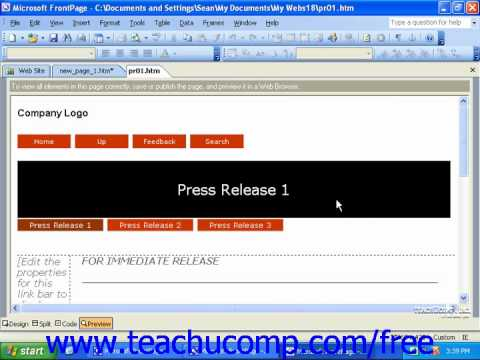 FrontPage Tutorial Planning a Web Site Pane Microsoft Training Lesson 2.1