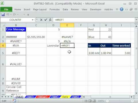 Excel Magic Trick 582: Excel Errors  9 Types - What They Mean - How To Fix Them