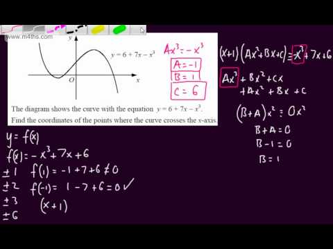 (9) Core 2 Algebra -Solving a harder cubic equation (factor theorem) C2