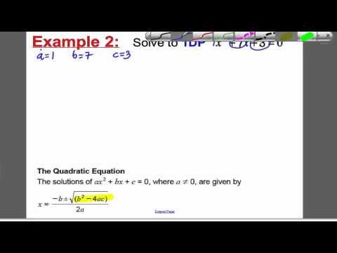 Quadratic Formula 1 (GCSE Higher Maths): Tutorial 5