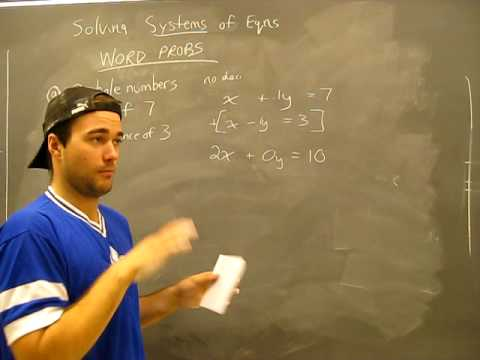 Solving Systems of Equations WORD PROBLEM 2: Substitution, Elimination Method Algebra Math Help