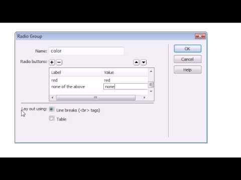 Dreamweaver CS4 Tutorial - 23 - Radio Buttons