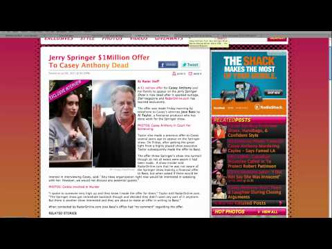 Jerry Springer Offers Anthony $1 Million