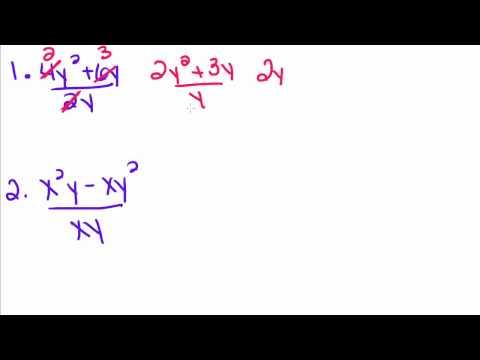Algebra Tutorial - 30 - Dividing a Polynomial by a Monomial