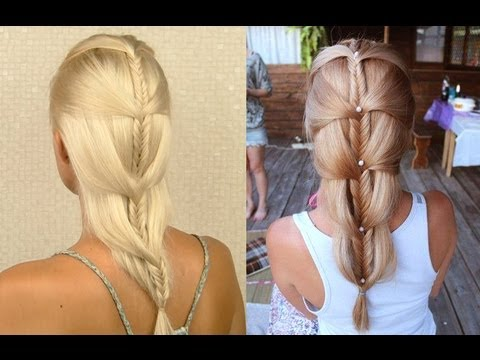 French fishtail braid tutorial for medium and long hair Cascading mermaid braid on yourself