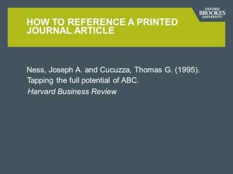 How to reference a journal article - Brookes Harvard style.