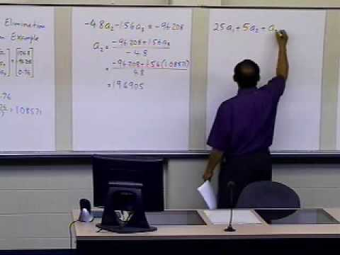 Naive Gaussian Elimination: Example: Part 2 of 2 (Back Substitution)