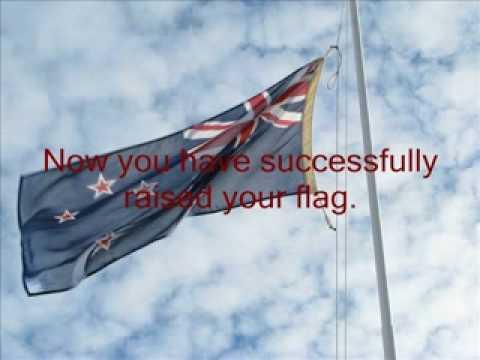 Raising a  flag