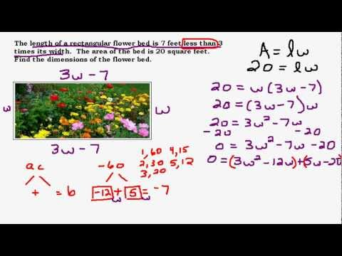 Area of a Rectangle Story Problem - Solve by Factoring