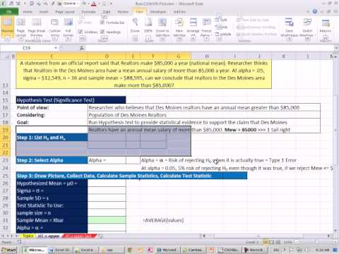 Excel 2010 Statistics 78: Hypothesis Testing Population Mean, P-value & Critical Value, 1 Tail Right