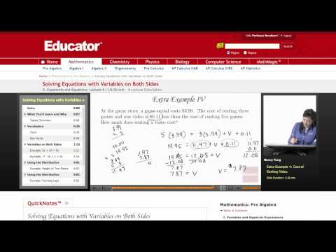 Pre Algebra: Solving Equations with Variables on Both Sides