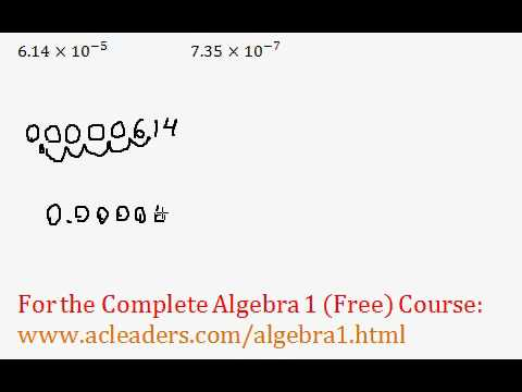 (Algebra 1) Exponents - Converting Scientific to Standard Notation #7-8