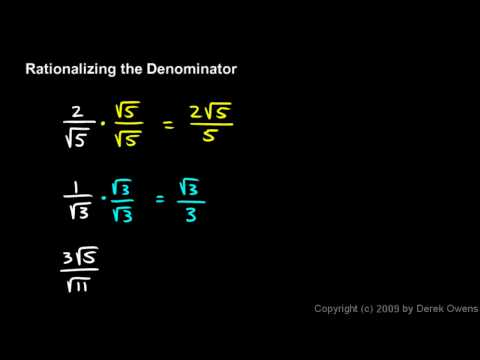Algebra 1  11.7d - Rationalizing the Denominator