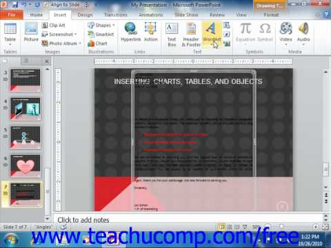 PowerPoint 2010 Tutorial Inserting Objects Microsoft Training Lesson 17.3